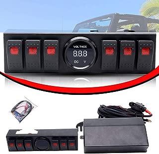 TURBO SII 6 Rocker Switch Pod Panel Windshield with Control & Source System Relay Box Assemblies with LED Digital Voltmeter for 09-17 Jeep Wrangler JK JKU TJ Rubicon Suburban 2500HD Silverado