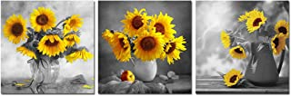 Sunflower Decor Wall Art Canvas - Yellow Vase Flowers Art Painting Black and White Floral Pictures Modern Home Office Decoration Living Room Kitchen Bedroom Artwork 3 Piece Unframed Poster Print Gift