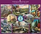 Ceaco - Thomas Kinkade 8 in 1 Multipack Jigsaw Puzzle Bundle Set - (2) Round 300, (4) 550, (1) 750, (1) 1000 Pieces, Kids and Adults