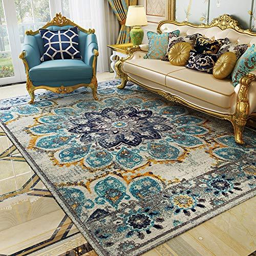 Fancytan Grand Tapis Vintage Oriental, Motif Floral Bleu pour Salon Chambre à Coucher, Bleu délavé, 160 x 230cm