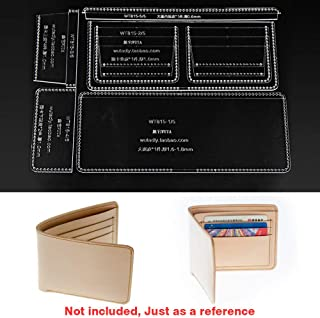WUTA Leather Craft Classic Wallet Acrylic Template Cutting Tools Pattern Set Clear Model for DIY Making Short Wallet Purse WT815
