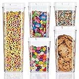 mDesign Juego de 5 recipientes para alimentos – Botes organizadores herméticos de plástico para cocina y nevera – Organizador de cocina sin BPA para café, cereales, ingredientes y demás – transparente