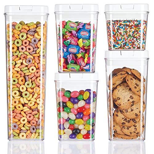 mDesign 5er-Set Frischhaltedosen – luftdichte Aufbewahrungsbox aus Kunststoff für Küchen- und Kühlschrank – BPA-freie Vorratsdosen für Kaffee, Müsli, Backzutaten etc. – durchsichtig