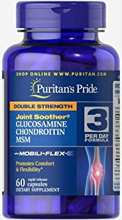 Puritan's Pride Double Strength Glucosamine Chondroitin Msm Joint Soother 60 Capsules 1 Bottle