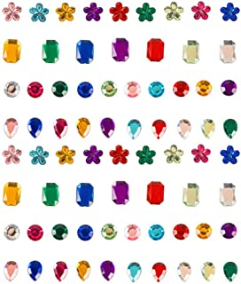 FOMIYES 400 Pcs Colorful Gem Stickers Butterfly Star Heart Shaped Imitation Rhinestone Stickers Decorative Arts Crafts Dec...