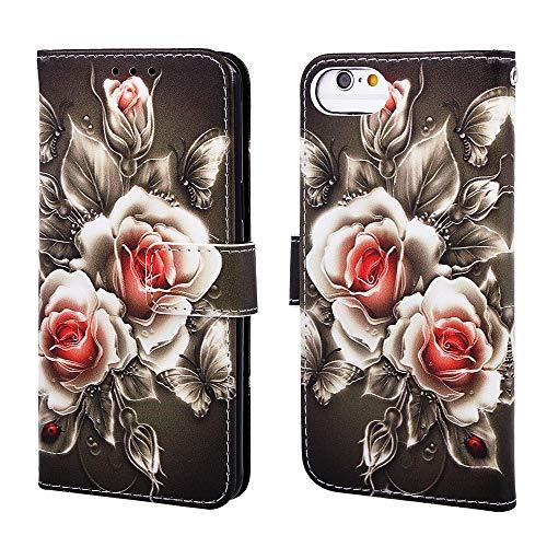 Nadoli Leder Hülle für iPhone SE 2020,Bunt Rose Blumen Malerei Ultra Dünne Magnetverschluss Standfunktion Handyhülle Tasche Brieftasche Etui Schutzhülle
