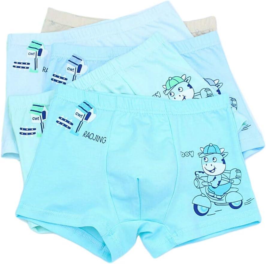 QUQUTWO Kids Little Boys Cotton Boxer Briefs Shorts Cartoon Car Animal Print Underwear Random Color