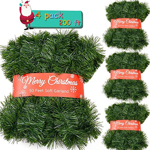 4 Pack 50 Feet Christmas Garland for Outdoor/Indoor Decoration, Soft Greenery Artificial Garland Decorations, Non-lit Green Xmas Garlands Perfect for Party Home Garden and Holiday Festival Decor
