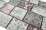 Edler Designer Teppich Moderner Teppich Wohnzimmer Teppich Patchwork Vintage Meliert Karo Muster in Lila Creme Grau Rosa Schwarz Größe 200 x 290 cm - 2