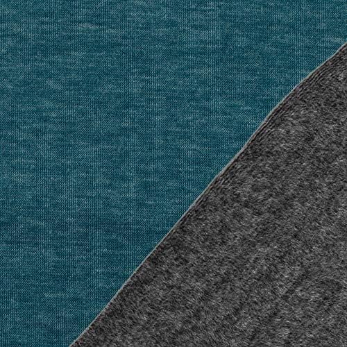 Die Stofftante Alpenfleece Kuschelsweat Alfons Petrol-grau 50x145 cm Meterware