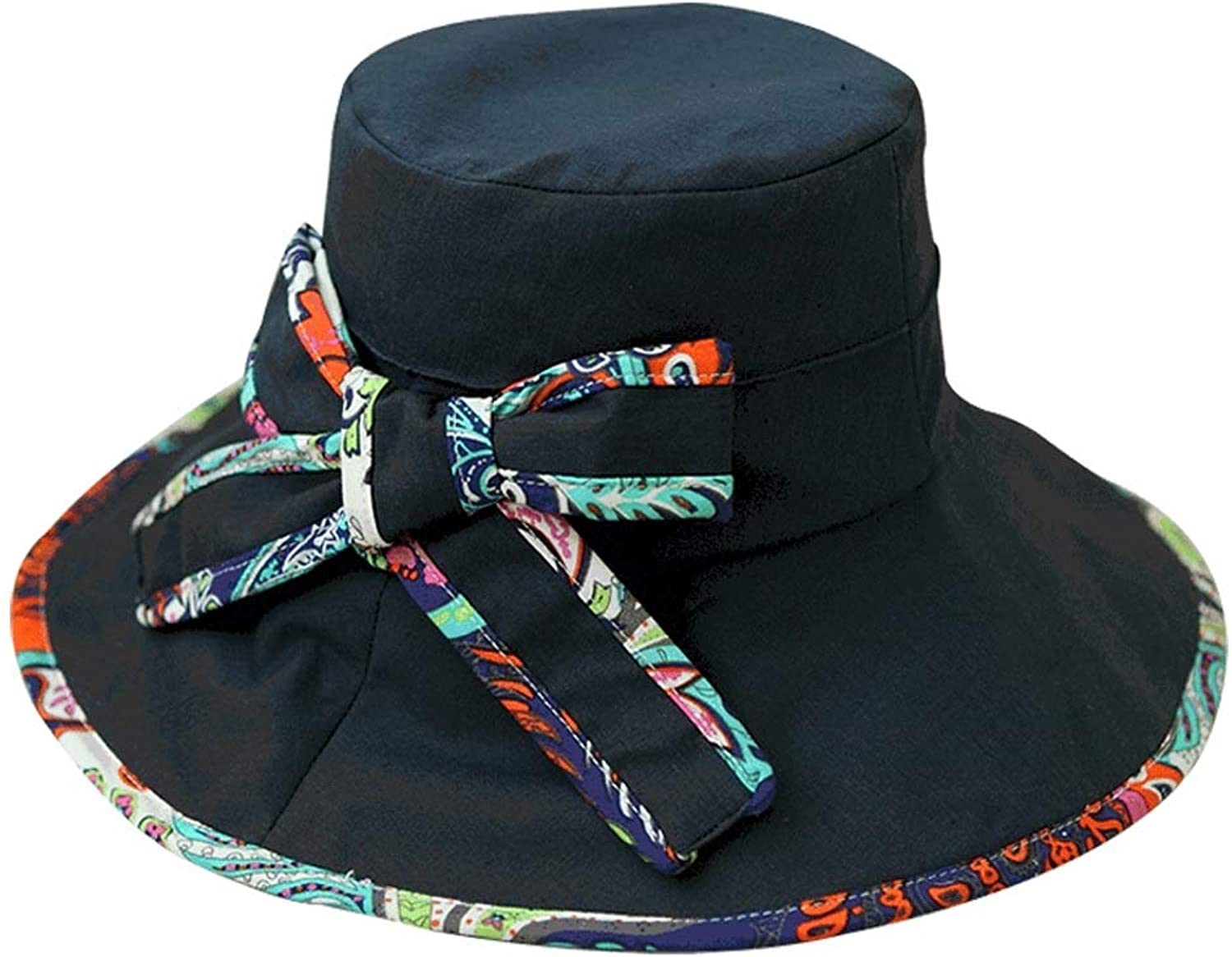 Printed Sun Hat, Big Sunshade Seaside Holiday Hat Simple Bow Sun Hat Casual Wild Sun Hat Adjustable with Wind Rope Navy