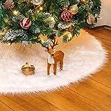Yorbay Decoración de Navidad, Falda del árbol de Navidad Blanco Christmas Tree Skirt Felpa de Cubierta de la Base del árbol de Navidad (Blanco, 78cm)
