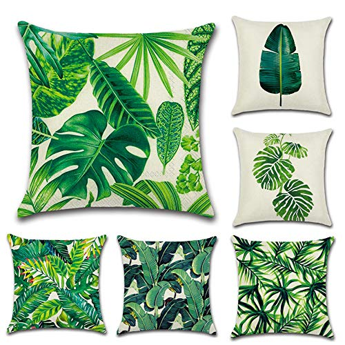 QUXIANG Set of 6 Tropical Leaves Throw Pillow Cover Decorative Cotton Linen Burlap Square Outdoor Cushion Cover Pillow Case 18 X 18 Inches