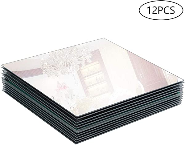 Murrey Home 10 Square Mirror Candle Tray Plate For Wedding Christmas And Party D Cor Set Of 12