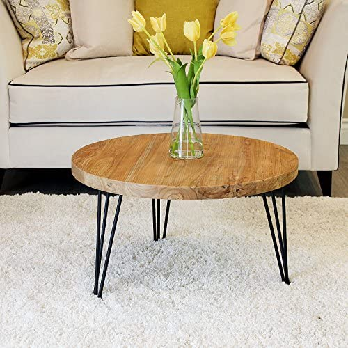 Best WELLAND Rustic Round Old Elm Wooden Coffee Table