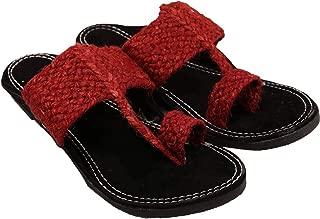 RADHE Men Red Kolhapuri Velvet Slipper for Men (Size=7)