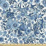 Lunarable Blauer floraler Stoff von The Yard, Russische