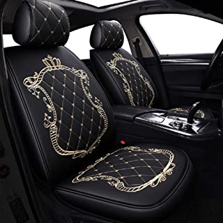 Skysep Crown Car Seat Covers, Fully Surrounded Unisex Seat,Winter Leather Seats Car,PU Leather and 3D Breathable Fabric (Black-Gold)