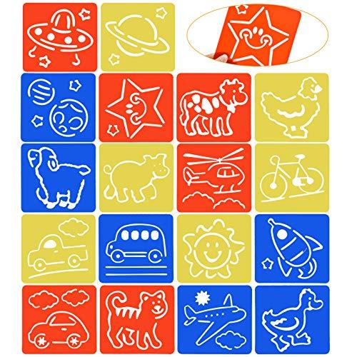Chstarina 18 Stück Schablonen Kinder Malschablonen Set aus Kunststoff Schablonen Tieremalerei Zeichenschablonen Muster Wiederverwendbar für Scrapbooking DIY Geschenkkarten