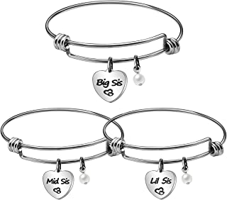 JJIA Sister Gifts, 3Pcs Sister Bangle Bracelets for Big Sister Little Sister Birthday Gifts Thanksgiving Gifts