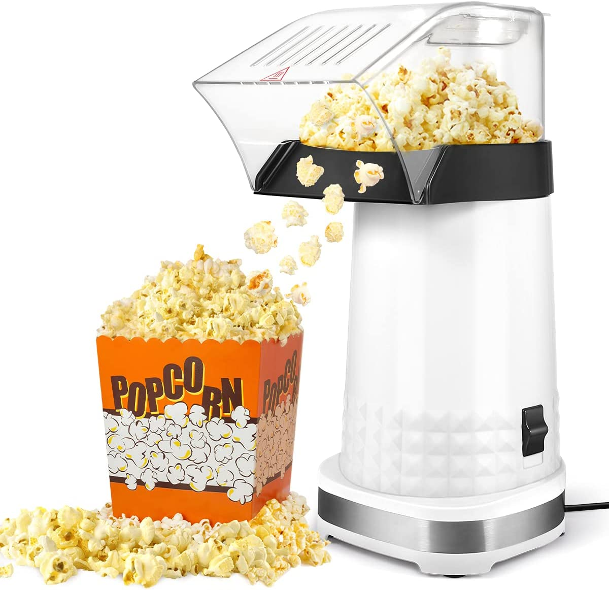KodaQo Hot Air Popcorn Machine, Electric Popcorn Maker for Home, No Oil Needed Popcorn Popper with Measuring Cup, Healthy and Quick Snack, Perfect for Party Birthday Gift (White)