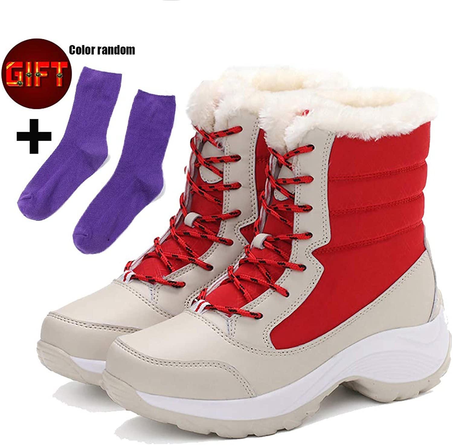 KISSOURBABY Women's Fur Lining Winter Boots Outdoor Waterproof Snow Boots