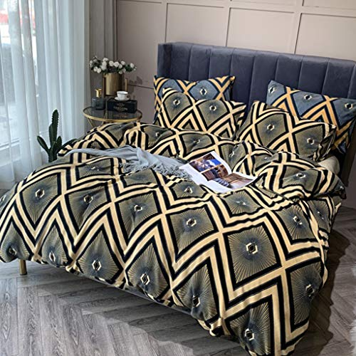 Fashionable Simple Zigzag Pattern Design-Double-Sided Printed Duvet Cover Oversized-Super Soft Double-Sided Milk Velvet Bed Four-Piece Set (Double Bed)