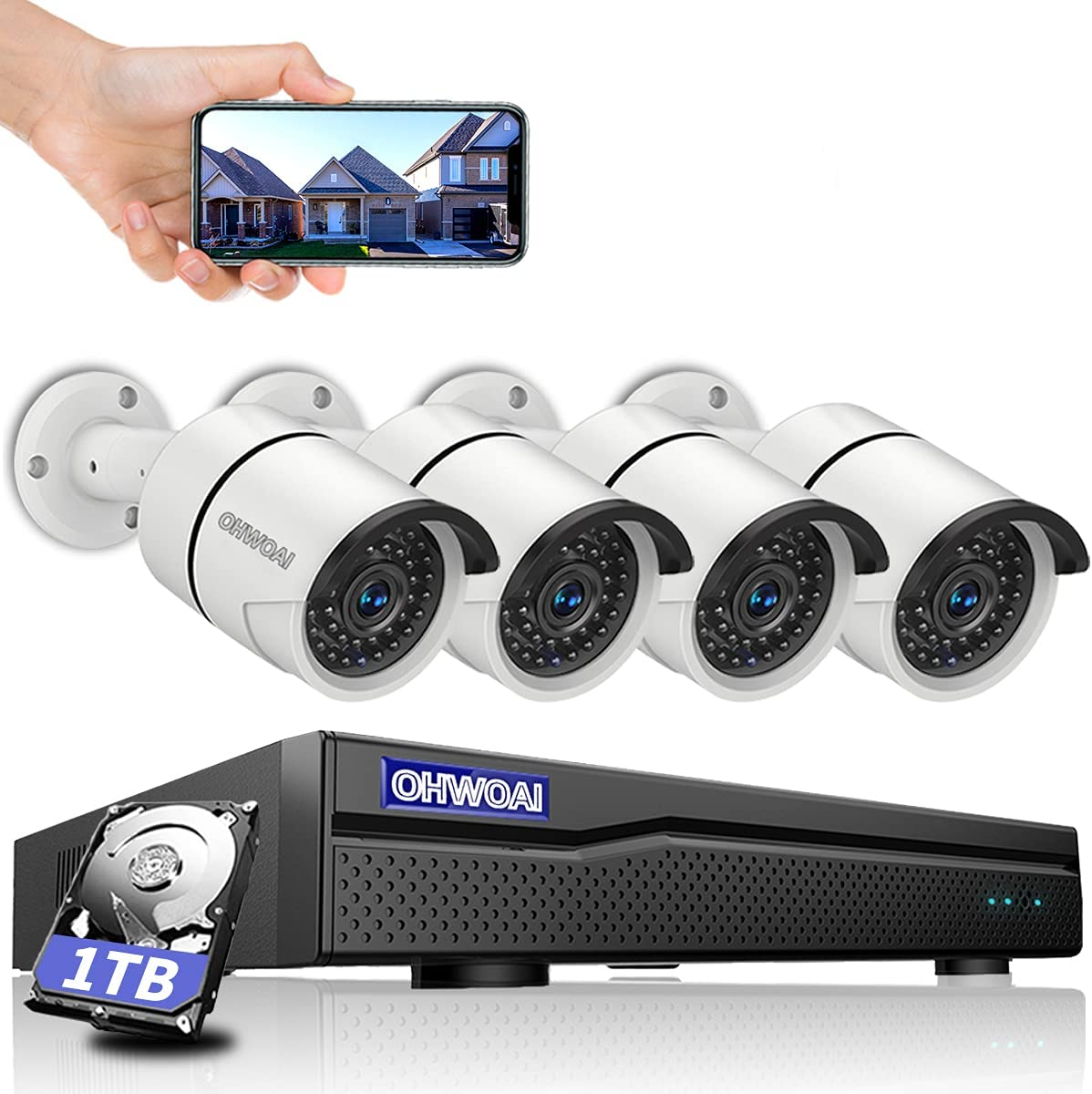 【3K 5.0MP & 30 Days Storage】 POE Security Camera System,8 Channel Poe NVR,4pcs 5.0MP Poe IP Cameras,OHWOAI Home Video Surveillance POE Wired Indoor&Outdoor System with 1TB HDD,AI Detection,Audio,IP67