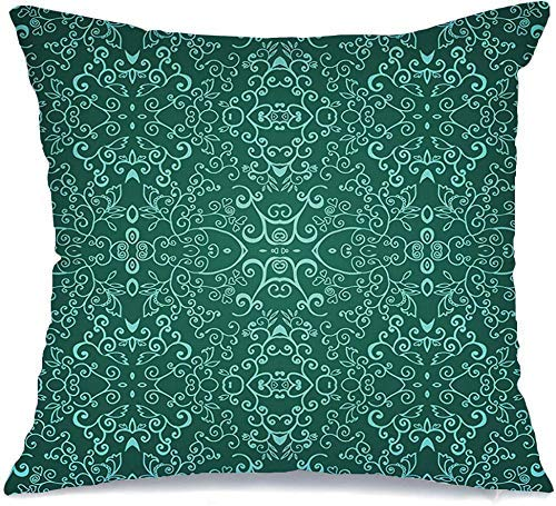 Pillow Case Clothes Swirl Doodle Scroll Green Pantone Emerald Floral Pattern Your Abstract Branch Textures for Linen Toss Comfortable Throw Cushion Cover for Car Chair Couch Bed 18 x 18 Inch