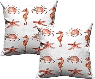 ZhiHdecor Pillow Nautical,Crab Seahorse Starfish Hand Drawn Underwater Sea Creatures Ocean Image,Salmon Dark Coral 14