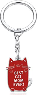 Best Cat Mom Ever Keychain for Women Kitties Lovers Birthday Gifts for Lady Cute Cat Lover Keyrings Valentine's Day Presen...