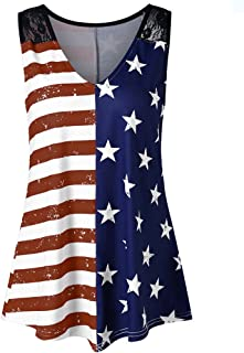 DAYPLAY Womens Flag Print Lace V-Neck Vest Tops Shirt Summer Ladies Tank Tee for Fourth of July Casual Blouse 2019 Sale