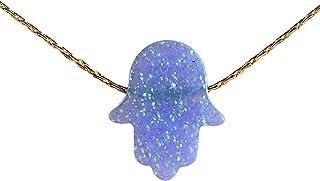 Collana opale blu Hamsa mano 14k Gold Filled Lunghezza 41 cm / 16 pollici + 5 centimetri Extender