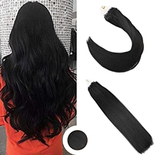 Ugeat 16inch Remy Microbead Hair Extension 1g/Strand Remy Micro Loop Ring Link Human Hair Extensions 50 Strand Jet Black Color #1 Real Human Hair Micro Ring Extensions