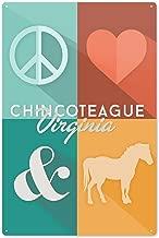 Lantern Press Chincoteague, Virginia - Peace, Love and Ponies 79735 (6x9 Aluminum Wall Sign, Wall Decor Ready to Hang)