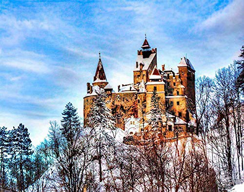 MQPPE Landscape 5D DIY Diamond Painting Kits, Famous Castle of Dracula in Bran Town Transylvania Region Romania Full Drill Painting Arts Set Craft Canvas for Home Wall Decor Adults Kids, 16' x 20'