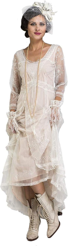 Nataya 40163 Women's Downton Abbey Style Wedding Gown in Ivory/Peach