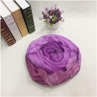Women Scarf Voile Sunscreen Ladies Scarf Hemming Plain Weave Beach Shawl,Perfect Accent to Any Outfit (Color : Purple, Size : 90x180cm)
