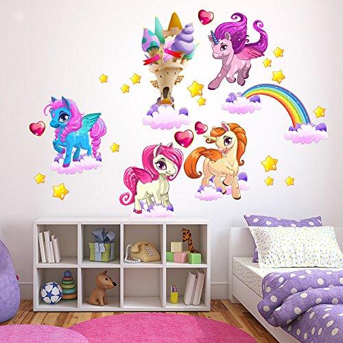 wall art R00389 Adesivo murale per Bambini Magici unicorni - Misure 60x120 cm - Decorazione Parete, Adesivi per Muro, Carta da Parati