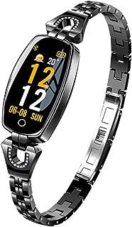 LTLJX Mujer Pulsera Actividad Inteligente Correa de Acero Inoxidable Reloj Impermeable Smartwatch con Pulsómetro Monitor de Sueño Contador de Caloría Podómetro Recordatorio de Período,Negro