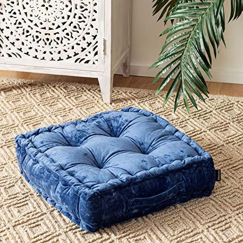 Safavieh Belia Glam 18-inch Periwinkle Velvet Square Floor Pillow, Blue