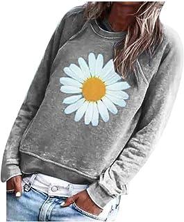ESKNAS Women Sweatshirt Autumn Winter Daisy Print Pullover Tops Casual O-Neck Long Sleeve T Shirt Blouse