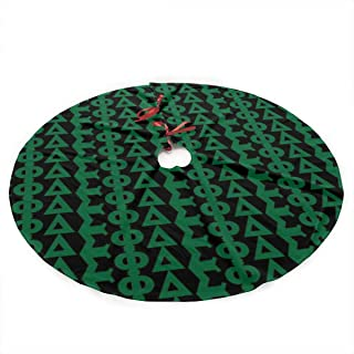 Tinahy6dvj Delta Sigma Phi Luxury Christmas Tree Skirt with Flower Design, Themed with Christmas Ornaments (Not Included)