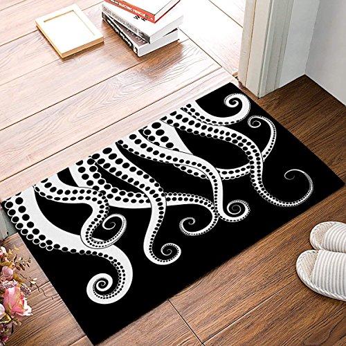 Jkimiiscute Kraken Ocean Theme Giant Octopus Tentáculos Mítico Náutico Mar Monstruo Marina Ilustración Felpudo de Bienvenida Estera de entrada para puerta interior Alfombra de baño