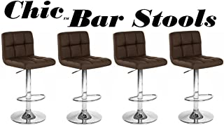 Chic Modern Adjustable Synthetic Leather Swivel Bar Stools (Brown)