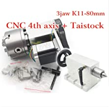 CNC Router Engraving Machine Rotational 4th Axis Rotary Table A Axis 3 jaw 80mm chuck+65mm Tailstock CNC dividing head+Nema23 Stepper Motor Milling Lathe Chuck Fourth Axis K11-80mm Reducing Ratio 6:1