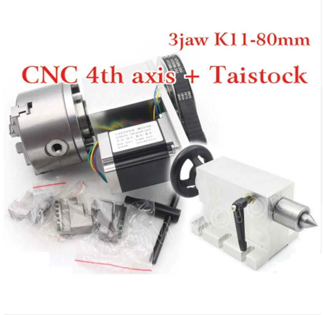 Rotary Axis and Tailstock Mophorn Router Rotary Axis CNC Rotational Rotary Axis 4th Axis 3 Jaw with Tail Stock for Engraving Machine