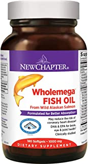New Chapter Wholemega Fish Oil Supplement - Wild Alaskan Salmon Oil with Omega-3 + Astaxanthin + Sustainably Caught - 180 ...