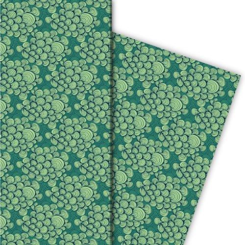 Kartenkaufrausch Nautisches Geschenkpapier Set 4 Bogen, Dekorpapier mit gemalten Wellen Wolken, grün, für schöne Geschenkverpackung, Musterpapier zum basteln 32 x 48cm