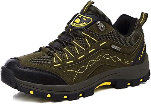 SELCNG Chaussures de randonnée Unisexes Chaussures de Marche imperméables Chaussures de Marche pour Hommes avec Chaussures de randonnée pour Sports de Plein air-vert-39